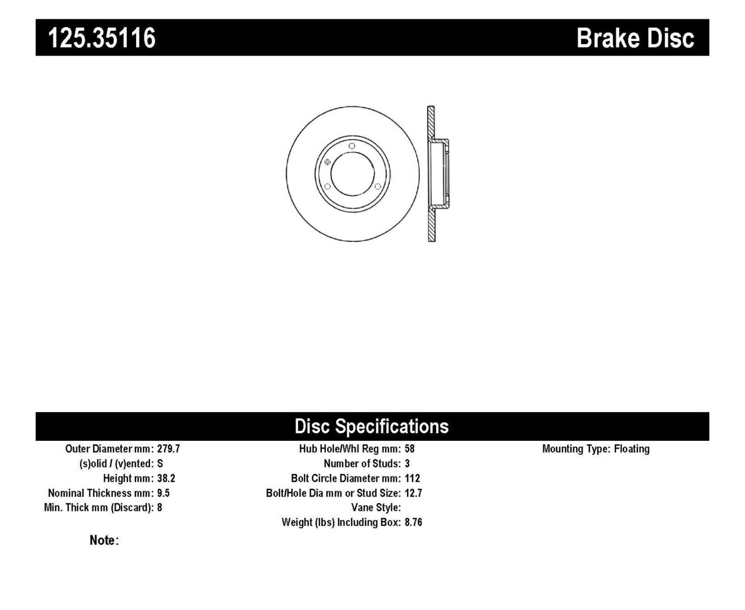Imagen de Rotor del Disco de freno High Carbon Alloy Disc-Preferred para Smart Fortwo 2009 Marca CENTRIC PARTS Número de Parte 125.35116